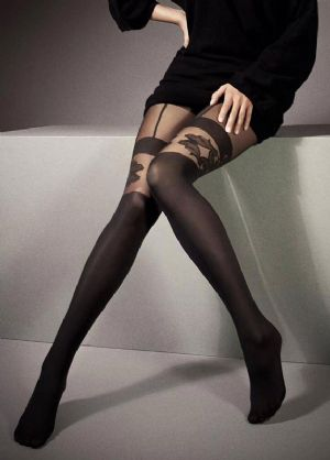Mock Suspender Tights with Floral Pattern to Thigh